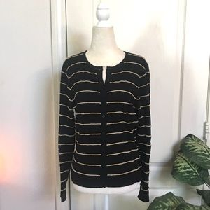 Sweaters - Black and Gold Stripe Cardigan